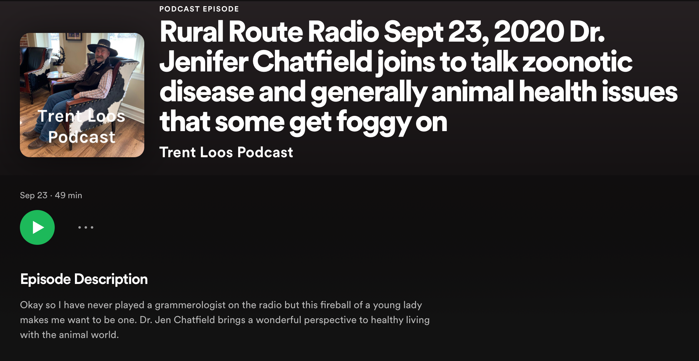 Dr. Jen joins Trent Loos to chat!